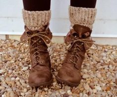 Combat boots and chunky knit socks.