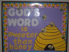 ideas for church bulletin boards Christian Classroom, Christian Bulletin Boards, Christian Preschool, Bee Bulletin Boards, Preschool Bulletin Boards, Bible School Crafts, Bee Theme, Board Ideas, Sunday School