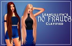 """simmandy:  """" Hi! I don't know if anyone has already done this but I really loved this hair for not clayifing it! (and yes, that's my dreams' length! ♥u♥)  DOWNLOAD ♥ """"  • DL (mesh!!) LeahLillith No Frauds Hair"""