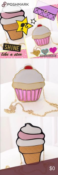 COMING SOON! Adorable 'Sweet on You' Crossbody Bag COMING SOON TO COLOR ME CRAZY BOUTIQUE!!! Add a bit of fun and whimsy to any look with these SUMMER PERFECT Kawaii style Crossbody Bags featuring 3D images of a cupcake and an ice cream cone!!! Beautifully crafted, the perfect piece to add a splash of color to any look!! Gold, chain link strap, zipper closure!! A must have for any girly girl!!! Color ME Crazy Boutique Bags Crossbody Bags