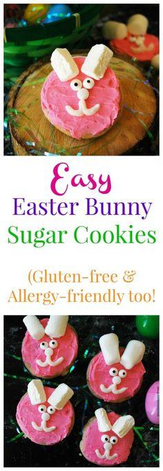 Allergy-friendly Easter Bunny Sugar Cookies by AllergyAwesomeness Dairy Free Sugar Cookies, Roll Out Sugar Cookies, Dairy Free Snacks, Cookies Vegan, Vegan Candies, Gluten Free Baking, Allergies, Peanut Tree, Easter Bunny