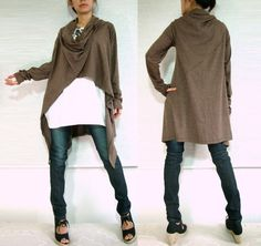Women Unique Long Cardigan - Cowl Neck Oversized  Wrap - chocolate brown in asymmetrical lagenlook