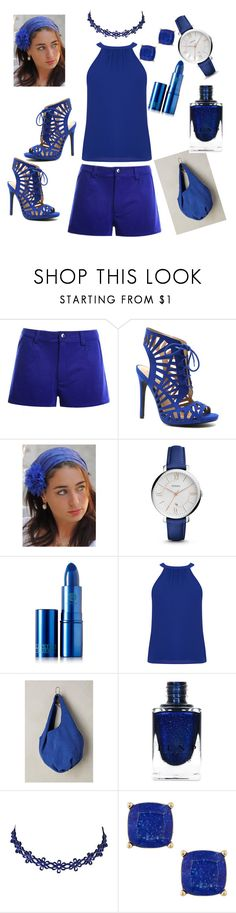 """""""Beautiful Blue"""" by daddyskittkatt ❤ liked on Polyvore featuring Qupid, Sara Attali, FOSSIL, Lipstick Queen, Anthropologie and Lydell NYC"""