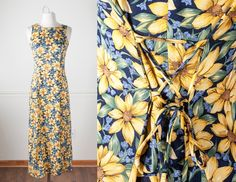 Vintage 90s Maxi Dress | Floral Print 1990s Dress Romantic Soft Grunge Dress 90s Boho Chic Festival Dress Summer Sunflower Print Dress Daisy by BlueHorizonVintage on Etsy