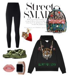 """""""not feelin' it today ✨"""" by powergurl-1 on Polyvore featuring Coach, Gucci, adidas Originals, Edie Parker, Puma, Bianca Pratt, Rilee & Lo, oversized, gucci and chill"""