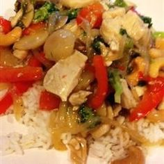 Garlic Chicken Stir Fry -can sub 1 T sugar for brown sugar and fresh ginger for 1/2 t. ground ginger