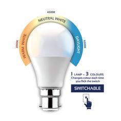 G1035BC - B22 7W Switchable LED Opal Globe Energy Efficient Lighting, Light Bulb, Opal, Globe, Lamps, Neutral, Colours, Led, Home Decor