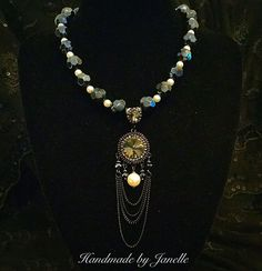 Smokey Grey/Black & Pearl Necklace With A Chain/Bead Pendant Necklace Handmade