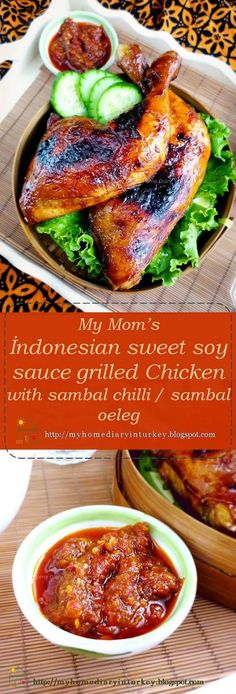 İndonesian grilled sweet soy sauce Chicken. Ayam bakar is usually served with sambal terasi (chilli sabal with terasi) or sambal kecap (sliced chilli and shallot in sweet soy sauce) as dipping sauce or condiment and slices of cucumber and tomato as garnishing as well as side dish. #İndonesianfood #sambal #chilli #maindish #chickengrilled #sweetsoysauce #İndonesian #poultryrecipe #roastedchicken #Asian