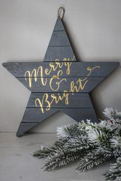Merry & Bright Gray Holiday Wall Art Christmas Decoration
