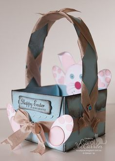 A Crafty Cat - Stampin' Up! Scallop Envelope Die 2011-13.  Easter Basket with punch art