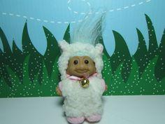 "TINY EASTER LAMB w/BLUE HAIR #2 - 3"" Russ Troll Doll - Excellent #Russ #TrollDoll"