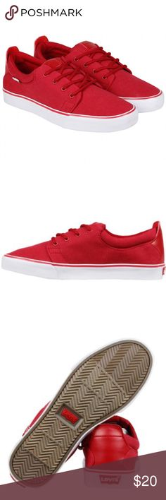 Levi's Justin Canvas Red Lace Up Sneakers Brand new WITHOUT tags or box, men's size 9. These Levi's Justin Canvas Red Lace Up Sneakers are the perfect casual everyday sneakers. Man made synthetic white outsole. Matching red laces and hardware. These will add the perfect pop of color to your outfit! Levi's Shoes Sneakers