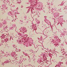 Pillemont Toile Wallpaper - Linen/Cerise (DPEMPI104) - Sanderson Pemberley Wallpapers Collection