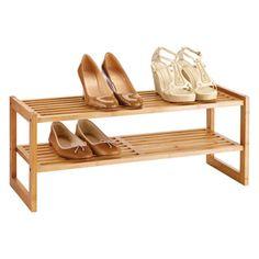 2-tier Bamboo Stackable Shoe Shelf