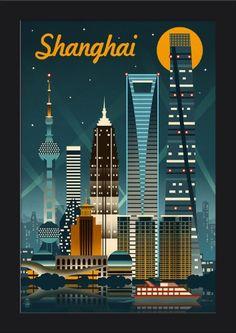 05d78ee682b63 Shanghai, China - Retro Skyline - Lantern Press Artwork (12x18 Giclee Art  Print,
