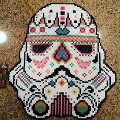 Sugar Skull Stormtrooper - Star Wars perler beads by deceasedpumpkin