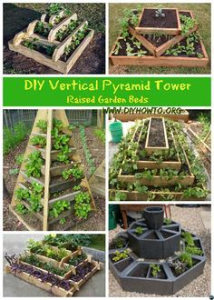 DIY Vertical Pyramid Tower Planters and Raised Garden Beds Plans and Instructions with wood structures or garden blocks - Free Plans. Building A Raised Garden, Raised Garden Beds, Raised Beds, Garden Blocks, Small Vegetable Gardens, Small Gardens, Tower Garden, Plant Tower, Garden Planters