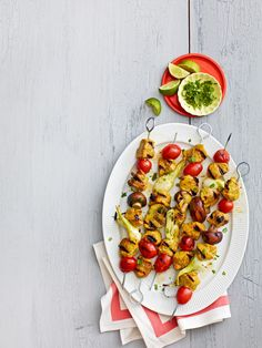 Spicy curry and vibrant, tangy lime make a delicious marinade for slightly sweet and succulent pork. Recipe: Curry-Lime Pork Kebabs   - CountryLiving.com