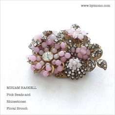 Pink beaded brooch by Miriam Haskell