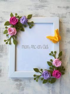 Flower Picture Frames, Flower Frame, Felt Crafts Diy, Paper Crafts, Cardboard Picture Frames, Box Frame Art, Birthday Gifts For Husband, Frame Crafts, Mothers Day Crafts