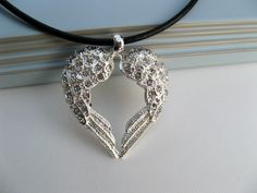 Angel Wing Heart Necklace Sterling Silver by ArtInspiredGifts, $38.00