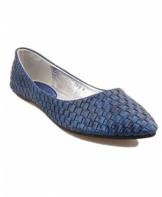 Blue Woven Flat Shoes