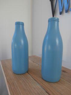 bouteilles jus de fruits peintes. de nouveaux vases!  produits Eléonore déco