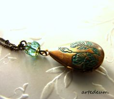 VintageTeardrop Locket Necklace  Patina Locket Brown Blue Antique Locket Floral Teardrop