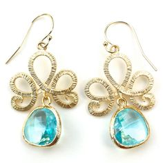 Lotus Pool Blue Gold Earrings @Layla Grayce