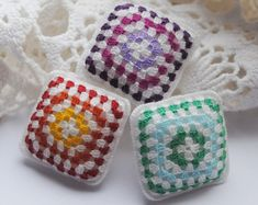 Micro crochet miniature dollhouse granny square cushion. Decorative pillow for your dollhouse accessories. Crochet square pillow.