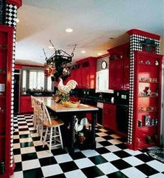 Red And Black Kitchen Decor black kitchen cabinets with red walls lovely red wall combined. Black Kitchen Decor, Red And White Kitchen, Black Kitchen Cabinets, Black Kitchens, Black Decor, White Decor, Country Kitchen, Cool Kitchens, Red Kitchen Walls