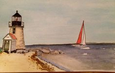 Watercolor and ink of lighthouse scene