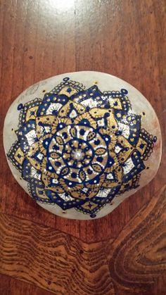 Navy blue and gold mandala/ spiritual/ hand painted/ painted stone/ bohemian