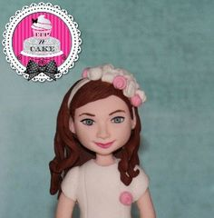 Fondant Cake Toppers, Fondant Cakes, Eye Color, Hair Color, Fondant Girl, Un Cake, Gum Paste, Mini Cakes, Etsy