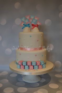 Pink & Blue Baby Shower Tiered Cake