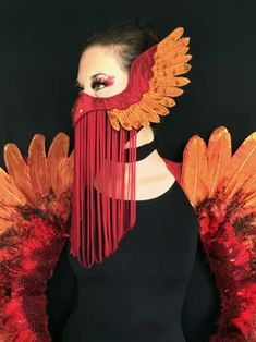 Masque Halloween, Halloween Face Mask, Halloween Party, Halloween Costumes, Costume The Mask, Costumes With Masks, Phoenix Costume, Grandeur Nature, Masks Art