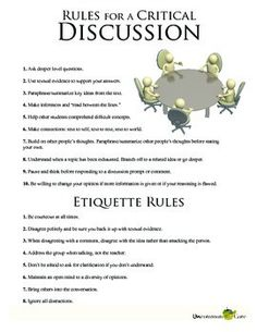 Critical Discussion Activity--Aligned to Common Core Listening and Speaking Standards. Teach students the rules for conducting all types of critical discussions and the etiquette for working in groups. Includes a grading rubric that is suitable for both teacher and peer evaluation.