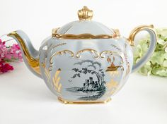 James Sadler Light Grey Cube Teapot - Vintage Teapot, English Teapot, Tea Party Teapot, Light Grey Teapot, Sadler Cube Teapot