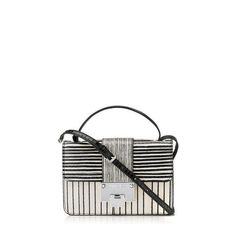 Black and White Striped Elaphe Cross Body Bag