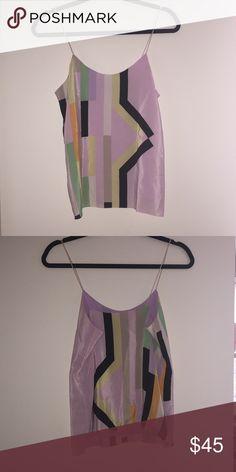 Tibi Geometric Silk Tank Tibi geometric silk spaghetti strap tank top. Great condition. 100% silk, dry clean only. Tibi Tops Tank Tops