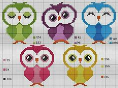 Nice little owls in color, too cute I think. Cross Stitch Owl, Cross Stitch Cards, Cross Stitch Animals, Cross Stitch Designs, Cross Stitching, Cross Stitch Embroidery, Cross Stitch Patterns, Pixel Crochet, Crochet Cross