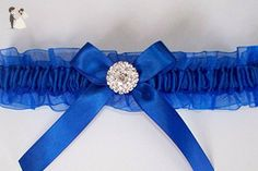 Royal Blue Garter with Rhinestone Center - Bridal garters (*Amazon Partner-Link)