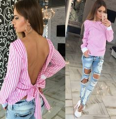 Women's Long Sleeve Backless Blouse