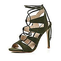 Khaki green suede caged lace up heels