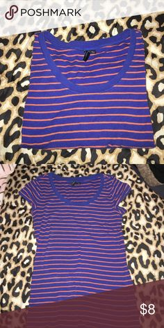 Basic Stylish Tee Blue with orange stripes. Fits well, stretches & it's super cute! One of my favorite tops ❤️ Cynthia Rowley Tops Tees - Short Sleeve