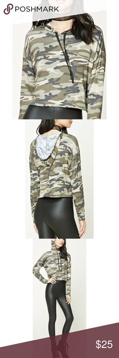 "✨NWOT✨ Camo Print Cropped Hoodie Top ✨NEW WITHOUT TAGS!✨  Just got this but ordered the wrong size. This is a size Large but fits like a Medium on me! I wanted it to be a little longer. So bummed because it's SO CUTE.           ‼️ BUNDLE TO SAVE 15% ‼️ 🔹Product Details🔹 A Knit Crop Top Featuring A Drawstring Hood, An Allover Camo Print, And Long Dolman Sleeves. - 95% Rayon | 5% spandex - Full Length: 17.75"" Tags for exposure: h&m 