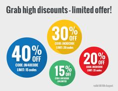 Grab high discounts! Buy #Joomla 3 #templates or all templates pack with a huge #discount.  We offer 40% , 30%, 20% and 15% discounts but the offer is limited and valid till 6th August only. Just use the coupon codes.