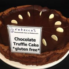 Our amazing Gluten Free  Chocolate Truffle cake is here at the Cafè today. Perfect with one of our coffees or to take home for later on. Make sure to pay us a visit- we are open until 6pm in the cafe and 5pm in the ice-creamery #rebeccascafe #portfairy #3284 #eat3284 #caketime #glutenfree #greatoceanroad #coffee @becspf  by becspf