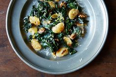 Heidi Swanson's Pan-Fried Giant White Beans with Kale, a recipe on Food52 - cheese is optional if you're in the 21-day phase!